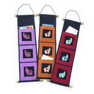 Gecas Regali dal mondo - Arazzi Portaoggetti 3 Tasche con Elefanti Misura 70 x 18 cm Indicare Il Colore