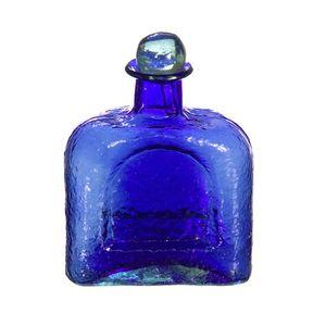 Gecas Regali dal mondo - Bottiglia Vetro Soffiato Misura H18 cm, Colore Blu