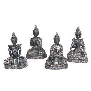 Gecas Regali dal mondo - Budda Thai Argento Set di 4 Misura 9 x 6 cm