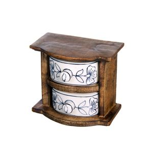 Gecas Regali dal mondo - Cofanetto Legno Ceramica 2 Cassetti Misura 12 x 9 x 13 cm