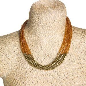 Gecas Regali dal mondo - Collana Perline Multifili Ambra Misura L.40 cm