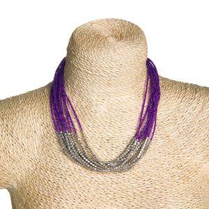 Gecas Regali dal mondo - Collana Perline Multifili Viola3914 Misura L.40 cm