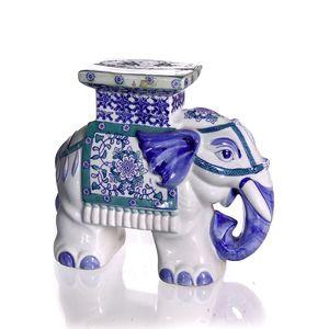 Gecas Regali dal mondo - Elefante Porcellana Blu/Verde Misura 32 x 28 cm