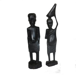 Gecas Regali dal mondo - Coppia di PORTATORI Masai in Ebano H.18 CM.