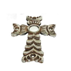 Gecas Regali dal mondo - Croce in Legno con Foglia Argento 20X15 CM.
