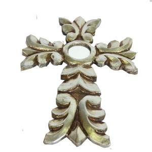 Gecas Regali dal mondo - Croce in Legno con Foglia Argento 26X19 CM.
