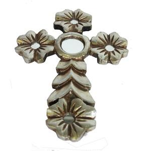Gecas Regali dal mondo - Croce in Legno con Foglia Argento 27X20 CM.