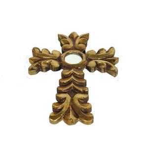 Gecas Regali dal mondo - Croce in Legno con Foglia Oro 20X15 CM.