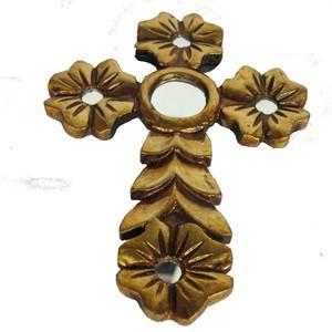 Gecas Regali dal mondo - Croce in Legno con Foglia Oro 26X19 CM.