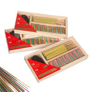 Gecas Regali dal mondo - Incenso Legno 15 Stick 14Coni Set 3 Misura 18.5 x 9 cm