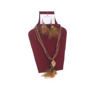Gecas Regali dal mondo - Parure Legno Perline Piume Misura L.50 cm