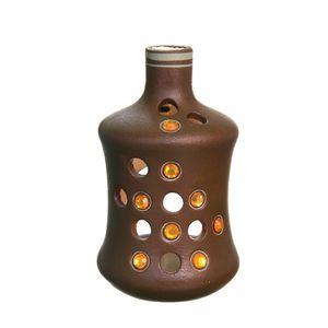 Gecas Regali dal mondo - Portacandela Ceramica Marrone Misura H18 x 11 cm