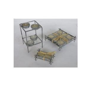 Gecas Regali dal mondo - Portacandela Ferro 2 Piani + 4 Candele Misura H15 x 10 cm