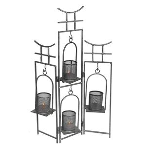 Gecas Regali dal mondo - Portacandela Ferro Pagoda. Misura H50 x 30 cm