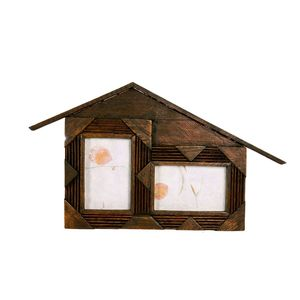 Gecas Regali dal mondo - Portafoto Legno Casa x 2 Foto Misura 28 x 50 cm