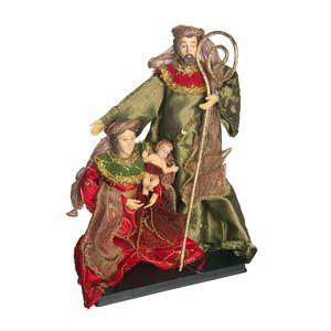 Gecas Regali dal mondo - Presepe Stoffa Rosso-Verde su Base Misura 26 x 17 x 8 cm