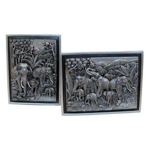 Gecas Regali dal mondo - Quadri Elefanti Set Di 2 Misura 23 x 17 cm