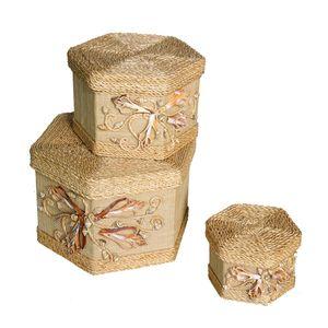 Gecas Regali dal mondo - Scatole Sinamay Set 3 Misura H.14 cm