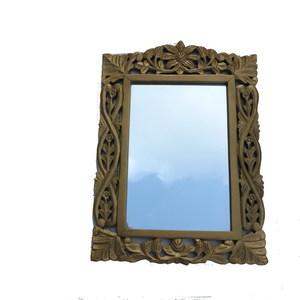 Gecas Regali dal mondo - Specchio Legno MASSELLO Dorato 65X45 CM.