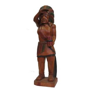 Gecas Regali dal mondo - Statua Indiano in Legno di Acacia H.90 CM.