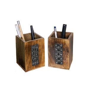 Gecas Regali dal mondo -Set di 2 Portapenne Legno Mango Sajai Misura 10,5 x 7 x 7 cm