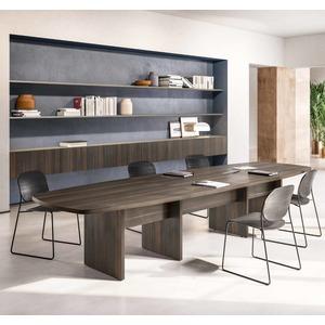 Tavolo riunione direzionale modulare, piano sagomato. Ideale per meeting