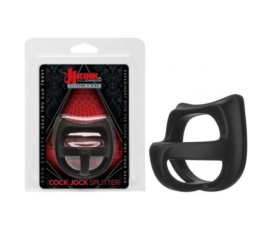 Kink cock jock silicone splitter black cockring anello per il pene con tre separati comparti