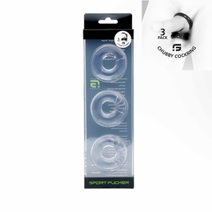 Chubby Rubber Cockring 3-Pack - Trasparent