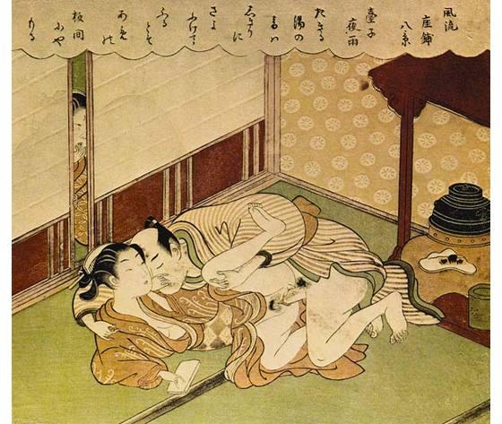 Zwei liebenden shunga erotischer holzblockdruck