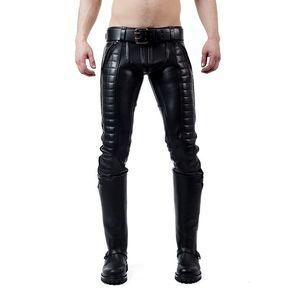 Jeans Mister B Indicator in pelle neri con cuciture a filo