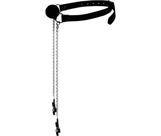 Ball gag nipple clamps black