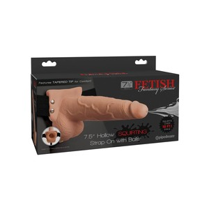 "Fetish Fantasy 7.5"" Hollow Squirting Strap-On with Balls Flesh"