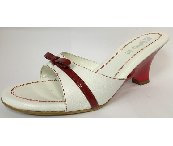 Mabelle pelle bianco/rosso