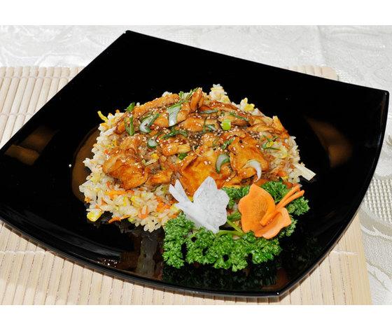 Riso alla piastra con salsa teriyaki