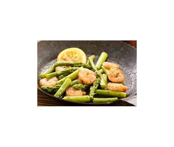 Gamberi con asparagi