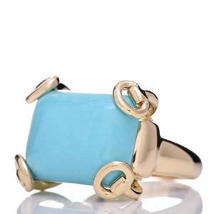 Gucci Anello Horsebit  Turquoise in oro 18kt