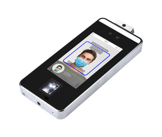 Visible light facial recognition time attendance terminal with temperature detector