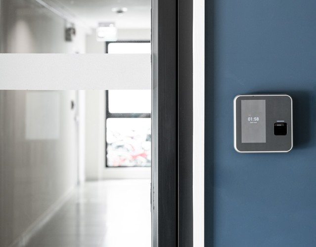 Finger or card scanner device placed on blue wall to unlock the entrance door smart home technology t20 1nxey9 %281%29