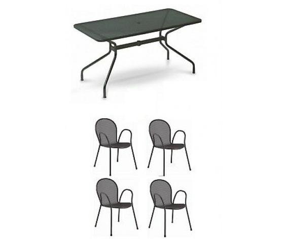 Tavolo esterno cambi 808 140x80 cm colore ferro antico 4 poltrone ronda emu 113918519884 1 500x505