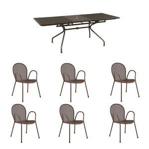 Tavolo Allungabile - Athena -con 6 sedie MARRONE
