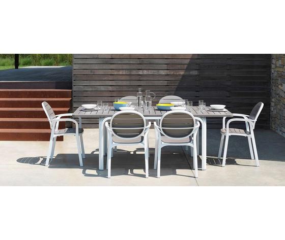 Set tavolo alloro 140 con 4 sedie palma bianco tortora