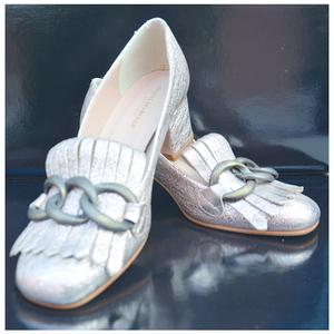 scarpe in pelle oro satinato