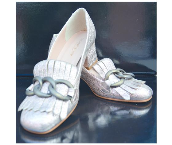 Scarpe pelle oro satinato