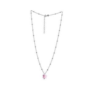 Girocollo donna AG925 con pietra rosa