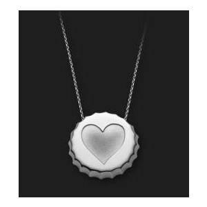 AMBROSINI JEWELS - PENDENTE ARGENTO 925° tappo finitura bianca cuore