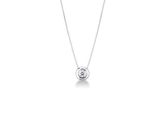 Collana punto luce in oro bianco 18k con diamante 030 carati