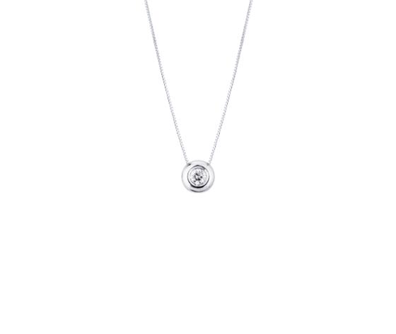 Collana punto luce in oro bianco 18k con diamante 030 carati removebg preview