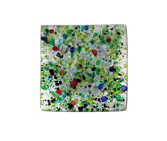 Piatto vetro sg argento quadrato nero verde