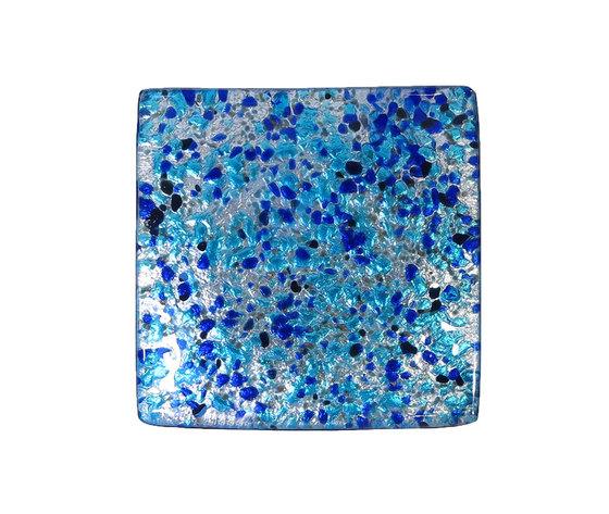 Piatto vetro sg argento quadrato azzurro blu