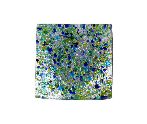 Piatto vetro sg argento quadrato blu verde